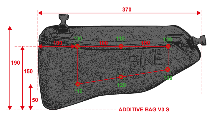 Abmessungen Additive Bag V3 Größe S